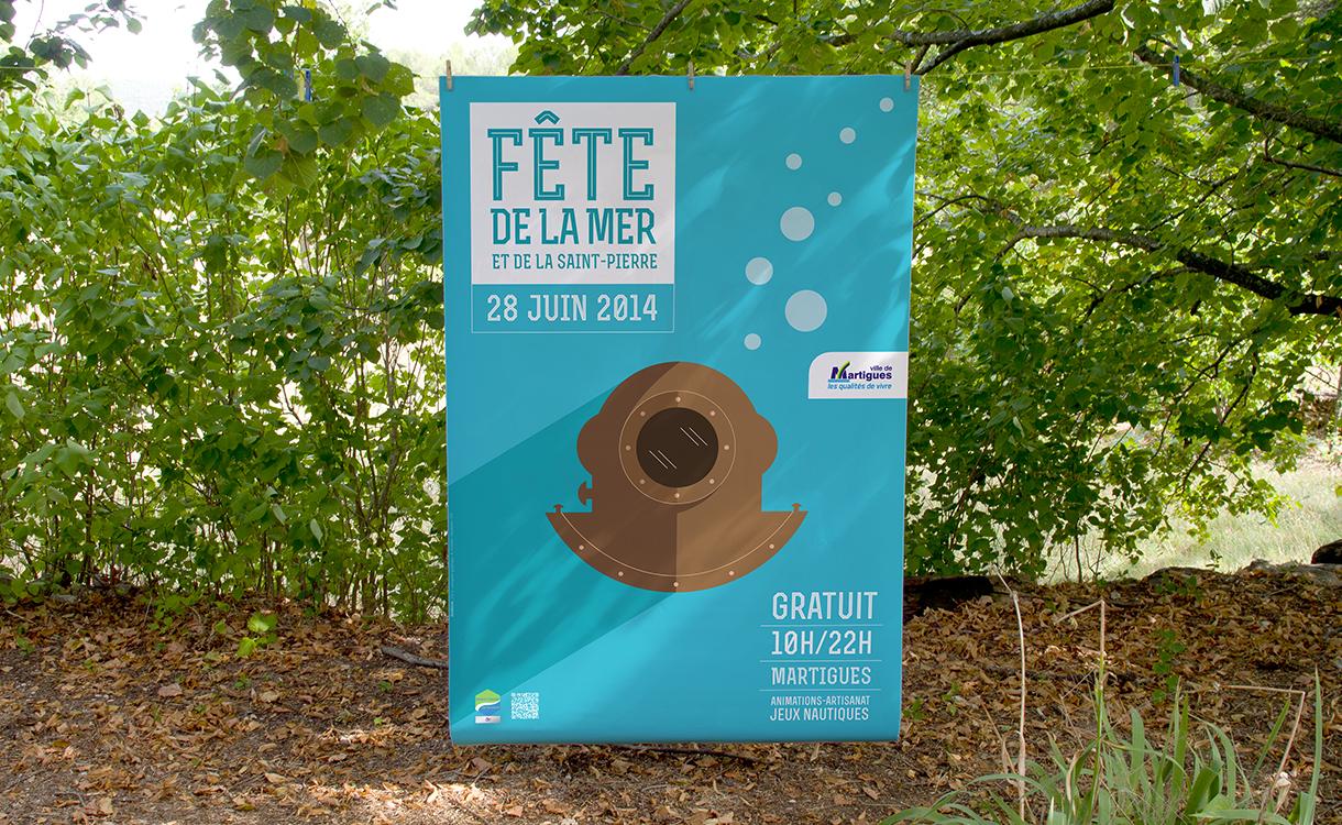 Affiche de la fête de la mer et de la Saint-Pierre sur fond de campagne en 2014