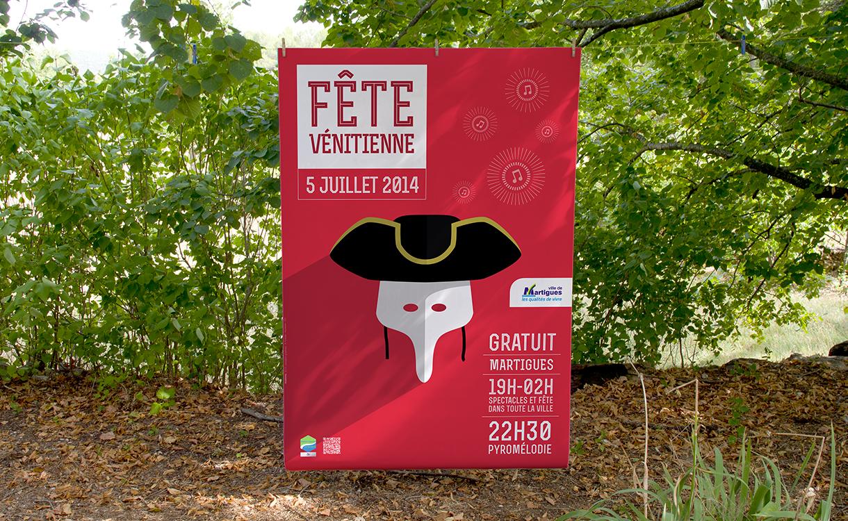 Affiche de la fête vénitienne sur fond de campagne en 2014