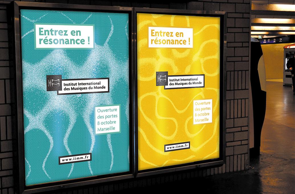 Affiches de la campagne de lancement de l'Institut International des Musiques du Monde (IIMM) dans le métro de Marseille - notre proposition