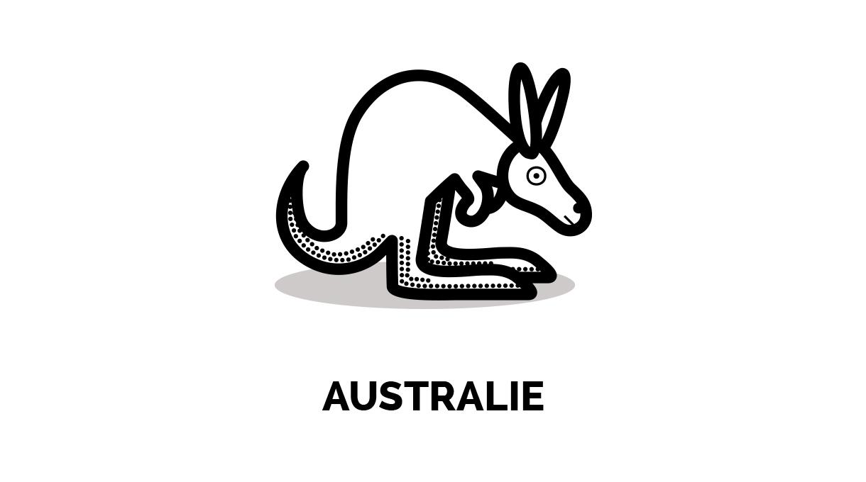 Les animaux squi représentent les pays offrant des PVT